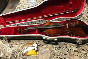 Old Violin Nicolaus Amatus 4 4 1 Piece Back Tiger Maple Vintage German Case Bow