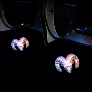 2pcs For Dodge Ram Multicolor Wireless Led Car Door Logo Projectors Lights