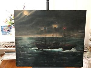 Antique Primitive Oil Painting Early Sandy Hook Light Ship Ny Harbor Maritime