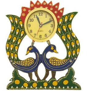 Wood Analog Clock Double Peacock Design Hand Painted Wall Clock Home Decor 13