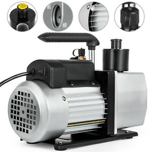 5 Cfm 2 Stage Rotary 110v 1 2hp Vane Vacuum Pump Hvac With 2 stages Gauge