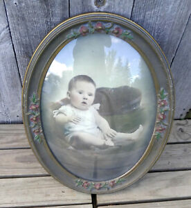 Vintage Oval Convex Glass Gold Polychrome Floral Picture Frame Baby Portrait