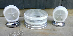 Vtg Art Deco Chrome Bathroom Light Set Ceiling Fixture Wall Sconces Glass Shades