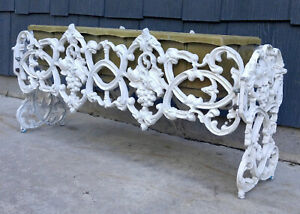 Vintage Antique White Grapevine Berries Pattern Cast Metal Porch Garden Planter