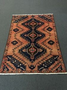 Semi Antique Hand Knotted Persian Hamadan Zanjan Geometric Rug Carpet 4 1 X6 1