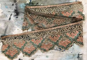Antique 1910s 1920s Embroidery On Black Net Lace Trim Grapes Florals 74 X 9