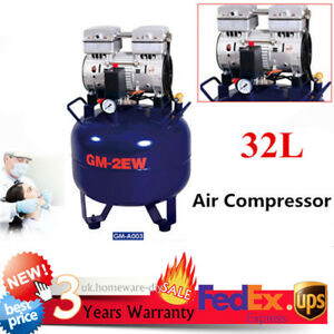 Portable Dental Medical Air Compressor Silent Noiseless Oil Free Oilless 32l New