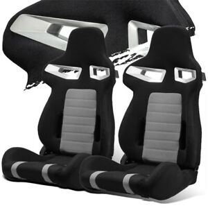 Black grey Pineapple Fabric Left right Recaro Style Racing Bucket Seats Slider