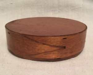 Antique Small 4 Round Finger Joint Wood Box Pat 1914 Shaker Style Pantry