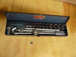 Vtg S k 1 2 Drive Chrome Knurled Socket Set 17 Pc Ratchet Breaker Bars ext