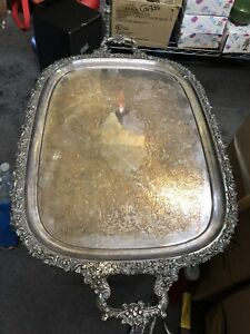 Vtge Large Designer Silver Plated Handled Engraved Butler Serving Tray England