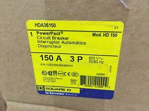 Square D Hda36150 Circuit Breaker 150a 600v 3 Pole New In Box Warranty