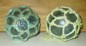 2 Antique Vintage Japanese Fishing Float Buoy Glass Balls With Ropes