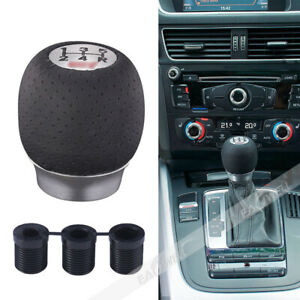 5 6cm Gear Shift Knob For Sti Subaru Impreza Black Pu Leather Aluminum 5 Speed
