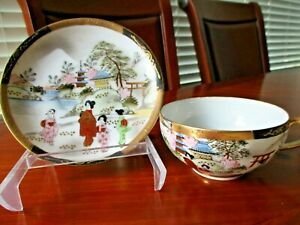 Vintage Japanese Hand Painted Tea Cup And Saucer Egg Shell Porcelain