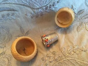 Antique Coquilla Nut Thimble Holder Case And Silver Gilt Thimble With Coral
