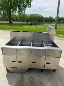 Pitco Sg14r us 3 Bank Fryer W Dump And Filter Nat Gas 115 Volts 1phase Tested