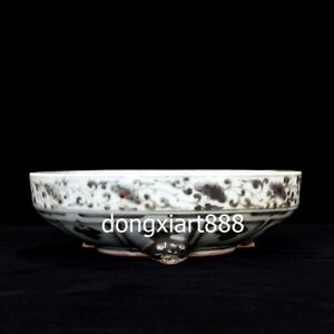 Chinese Black White Porcelain Poetic Prose Brush Washer Plates Tray Dish Salver