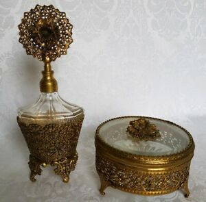 Vintage Gold Ormolu Belived Glass Perfume Bottle W Dauber And Round Dresser Box