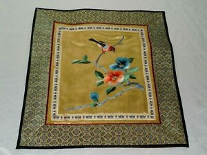 Vintage Chinese Silk Thread Embroidery Textile With Flowers And Bird