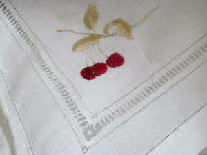 Antique Silk Embroidered Red Cherry Tea Parlor Tablecloth W Drawnwork