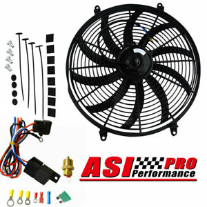 16 12v Electric Radiator Cooling Fan mount Kits thermostat Kits Universal Pro