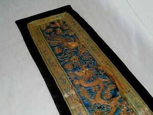 Antique Chinese Gold Metal And Silk Thread Embroidery Textile With Dragon