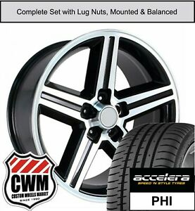 17 X8 Wheels And Tires For Chevy Camaro Black Machined Iroc Rims Fit 1982 1992