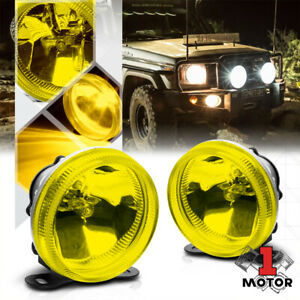 Golden Yellow Glass Lens Universal Fog Light 3 5 Round Bumper Lamp W Bulbs Mount