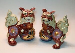 Imperial Red Royal Blue Gold Moriage Porcelain Foo Dog Shishi Lions Pair 7 5