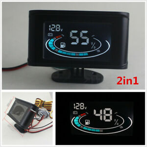 2in1 Lcd Digital 12v 24v Universal Car Voltmeter Gauge Fuel Level Gauge Meter