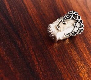 Mexican Sterling Silver Thimble With Applied Floral Pattern No Monogram