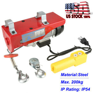 440 Lb Overhead Electric Hoist Crane Lift Overhead Garage Winch W Remote 110v