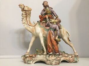 Antique Austrian Porcelain Middle Eastern Arab Rider On Camel Figurine 11 Tall