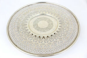 Meriden Brittania Co Sterling Silver Reticulated Footed Serving Plate