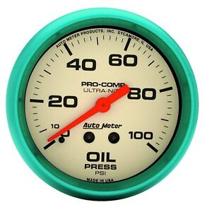 Autometer 4521 Ultra Nite Gauge For Oil Pressure W White Dial Face