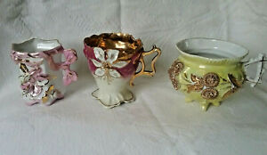 German Victorian Set Of 3 Luster Gold Footed Tea Cup Raised Flowers Floral