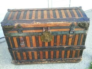 Victorian Antique Watkins Wolfe Dome Top Steamer Trunk Oak Wood