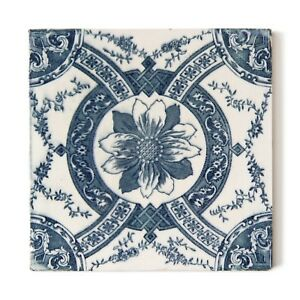 Antique Tile Victorian Aesthetic Rococo Majolica English Floral Steel Blue White