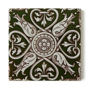 Antique Tile Victorian Aesthetic Gothic Arts Crafts Floral Lea Hearth Green Gray