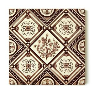 Antique Tile Victorian Aesthetic Floral Jackson Clay Hearth Transfer Brown White
