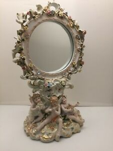 Antique Meissen German Dresden Porcelain Figural Cherubs Mirror 18 Tall