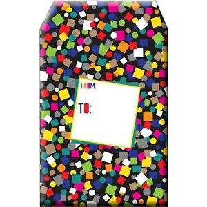 Small Birthday Printed Padded Mailing Envelopes Black Confetti 24 Pieces