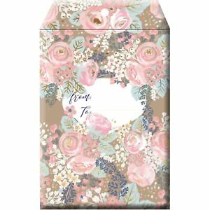 Small Floral Printed Padded Mailing Envelopes Bouquet 24 Pieces
