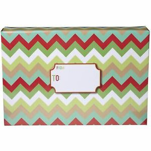 Large Christmas Printed Gift Mailing Boxes Chevron 24 Pieces