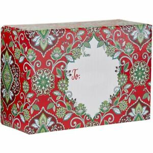 Small Christmas Printed Gift Mailing Boxes Floral Red 24 Pieces
