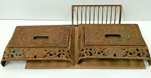 2 Old Cast Iron Auer Slanted Register Covers Wall Floor W 1 Grate