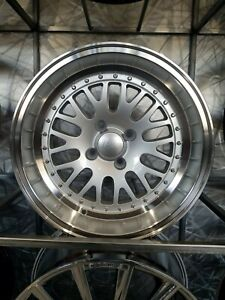 Brand New Set Of Four 15x8 0 Silver Machine Lip Lm20 Style Wheels Fits 4x100