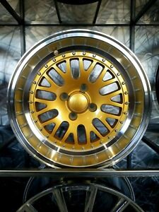 15x8 0 Gold With 3 Lip Lm20 Style Rims Wheels 4x100 Fits Vw Golf Jetta Passat