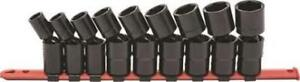 Gearwrench made In Usa 9pc 1 2 dr Sae Pinless Swivel Impact Socket Set 84937